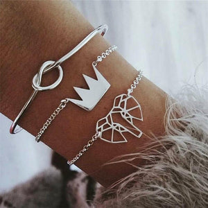Fashion Crown Elephant Alloy Bracelet Three   Piece Combination