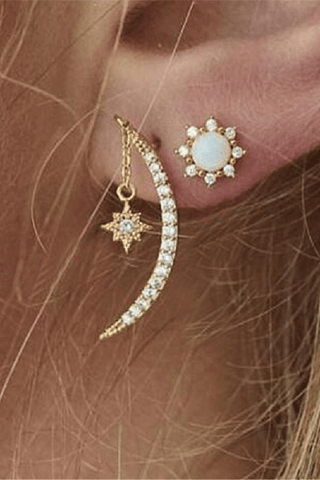 Fashion Personality Moon Star Pendant Earrings