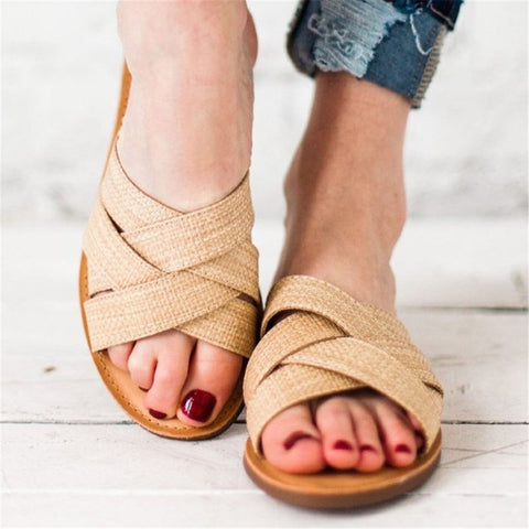 Fashion Casual Cross With Flat Slippers