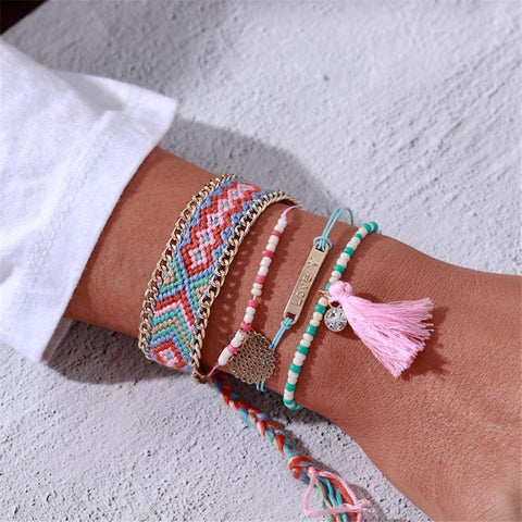 Bohemian beaded fringed diamond bracelet