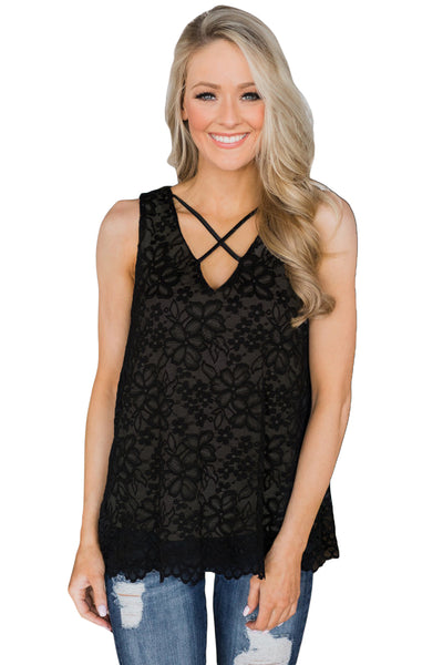 Black Lace Tank Top with Linning