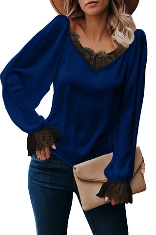 Blue Satin Lace Blouse
