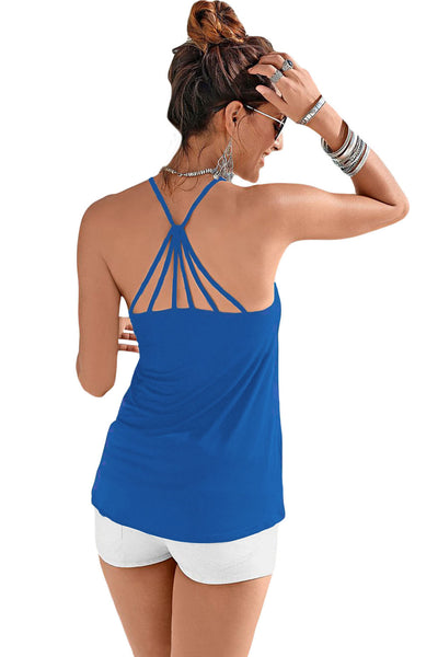Blue Strappy Back Detail Summer Top