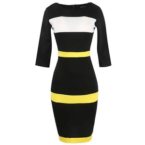 POPHERS Stripes Round Collar Stitching 3/4 Sleeve Bodycon Dress