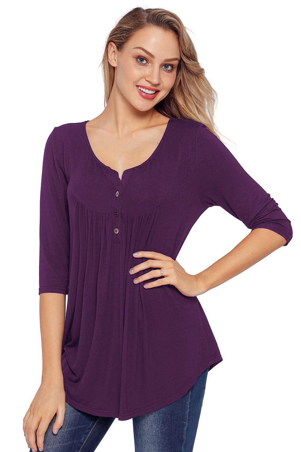 Purple 3/4 Sleeve Button Detail Pleated Tunic