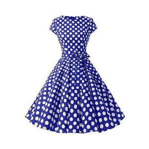 POPHERS Slim Dot Retro Cotton Skater Dress
