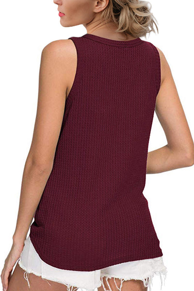 Red Waffle Knit Tie Knot Tank Top