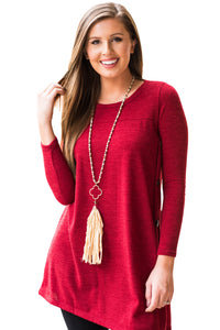 Red Button Side Long Sleeve Swingy Tunic
