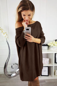 POPHERS Brown Oversized Batwing Sleeve Sweater Dress