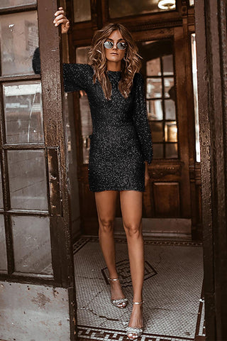 POPHERS Black Puffy Sleeve Sequin Party Mini Dress