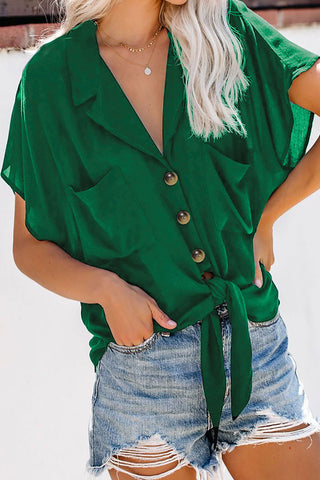 Green Zealous Button Down Tie Top