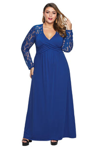 Blue Lace Sleeve Cross Wrap Bust Ruched Back Plus Size Dress
