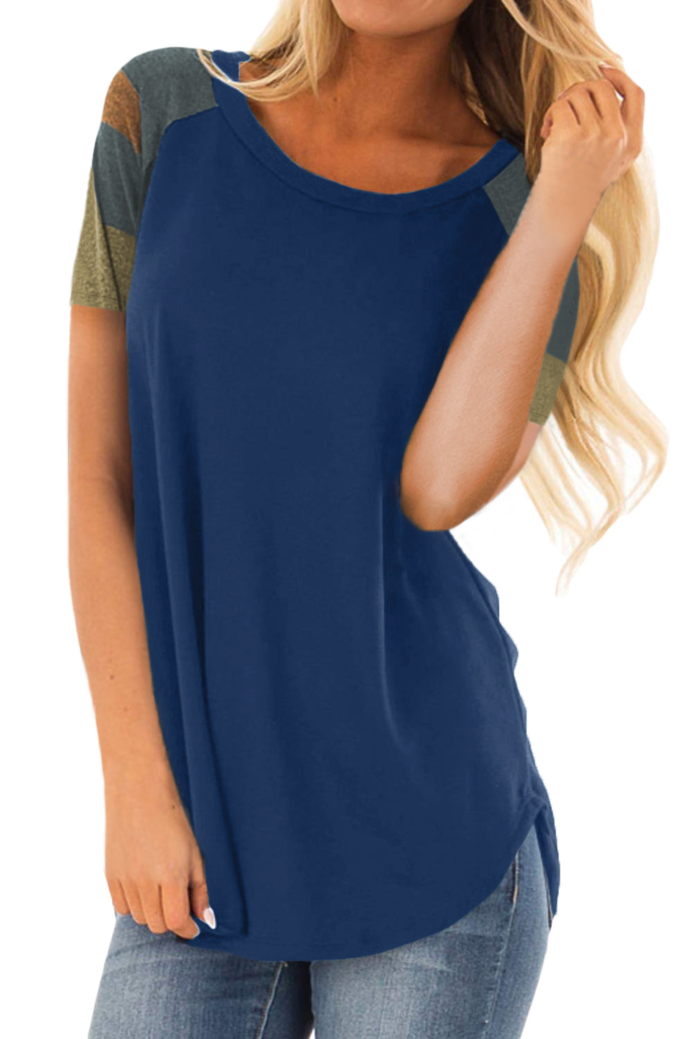 Blue Color Block Short Sleeve Loose Fit Top