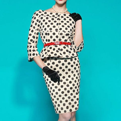 POPHERS Temperament Round Neck Dots Belt Bodycon Dress