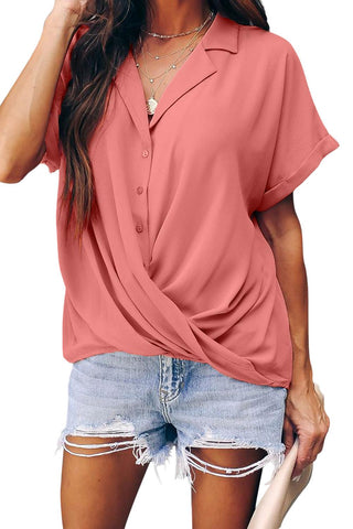Pink Road To Success Button Down Drape Blouse