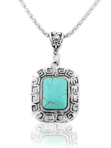 POPHERS Square Pattern Turquoise Necklaces Accessories