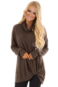 Brown Knot Hem Detail Cowl Neck Top