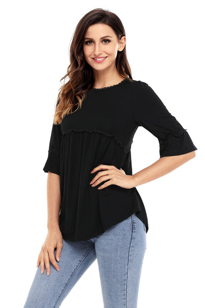 Black Babydoll Long Tunic Top