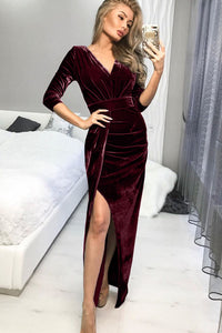 Red Deep V Neck Ruched Side Slit Party Velvet Dress