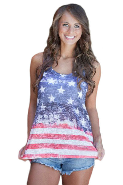 Stars and Stripes Flag Sleeveless Tank Top