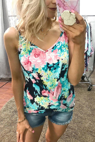 Green Floral Strappy Shoulder Tank Top