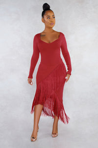 POPHERS Red Glove Sleeves Fringed High-low Midi Dress