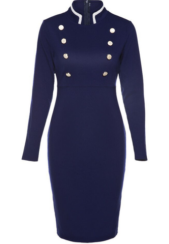 POPHERS Standing Collar Long Sleeve Slim Bodycon Dress
