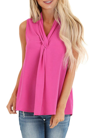 Rose Sleeveless Blouse Top with Front Twist