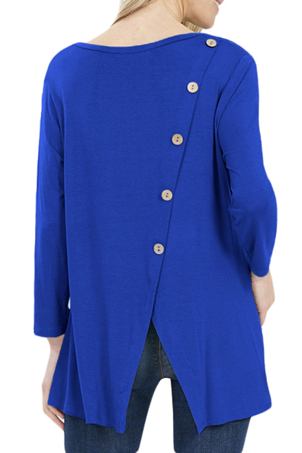 Blue Button Back Long Sleeve Tunic Top