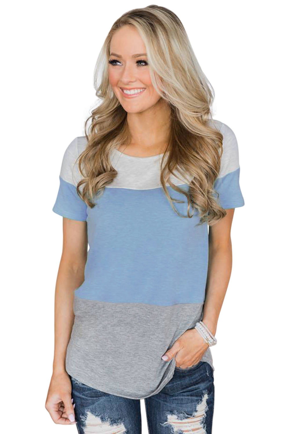 Sky Blue Contrast color T-shirt