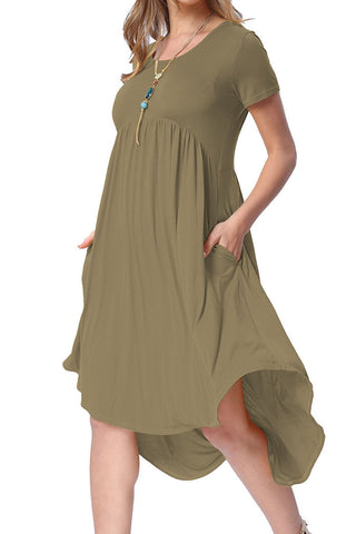 Army Green Short Sleeve High Low Pleated Casual Swing Dress
