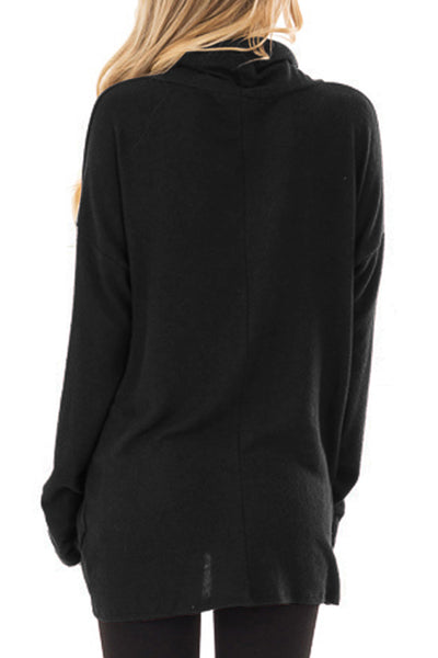 Black Knot Hem Detail Cowl Neck Top