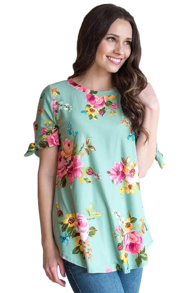 Grassy Floral Print Tie Detail Short Sleeve Blouse