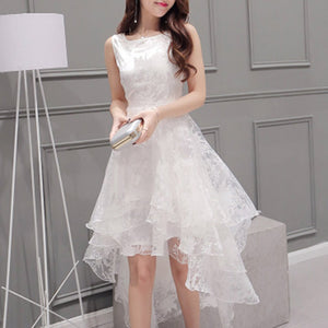 POPHERS Sleeveless White Round Collar Irregular Skater Dress