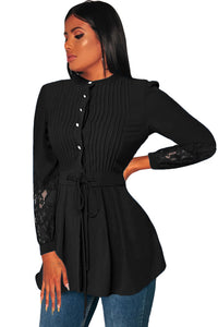 Crinkle Chest Black Lace Panel Peplum Blouse