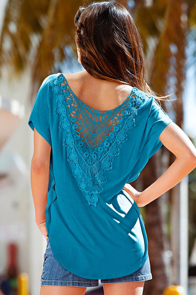 Slate Blue Macrame Low-cut Back Dolman Sleeve Shirt