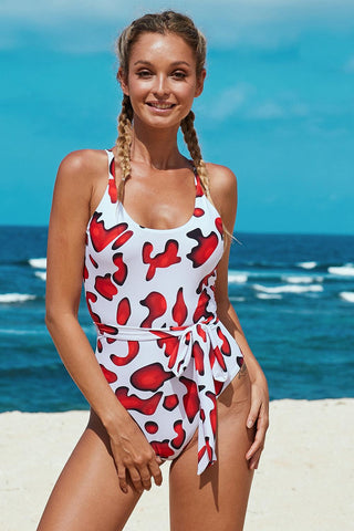 Red Scoop Neck High Cut One-piece Swimsuit with Sash