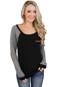 Black Elbow Patch Long Sleeve Top