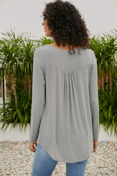 Gray Long Sleeve Button up Pleated Tunic