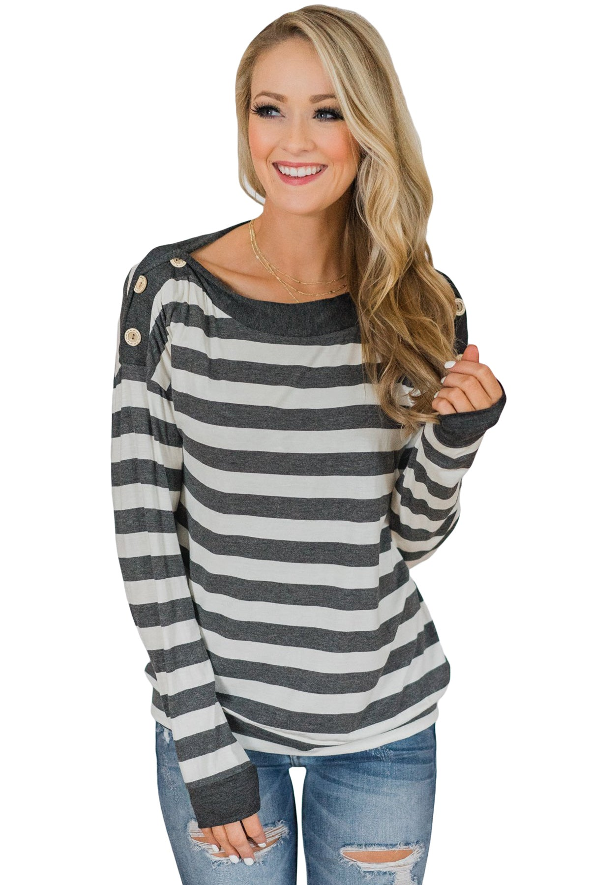 Button On Shoulders Gray Striped Long Sleeve Top