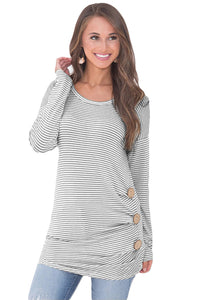 Black Pinstriped Button Detail Long Sleeve Top