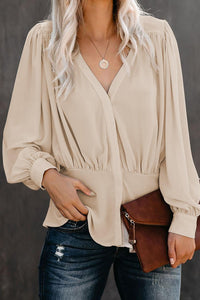 POPHERS Apricot Button Down Pleated Blouse