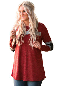 Burgundy Sweater Tunic with Blocks