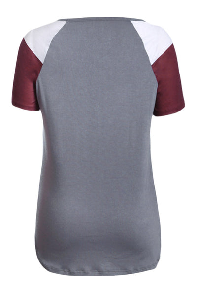 Gray Color Block Short Sleeve Loose Fit Top