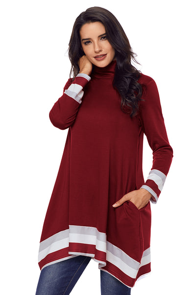 Stylish Varsity Striped Burgundy Long Sleeve Tunic Top