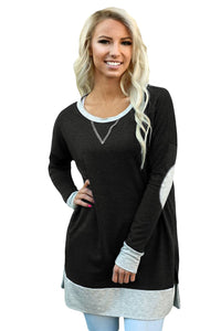 Black Side Pocket Elbow Patch Colorblock Tunic