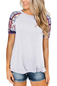 White Front Knot Floral Printed Short Sleeve Tops
