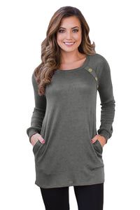 Black Button and Suede Accent Tunic Top