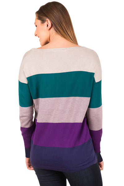 Green Purple Colorblock Pocket Pullover Tunic Top