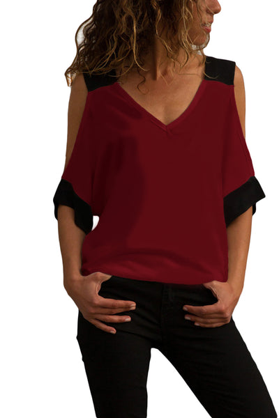 Burgundy Black Color Block Cold Shoulder Top